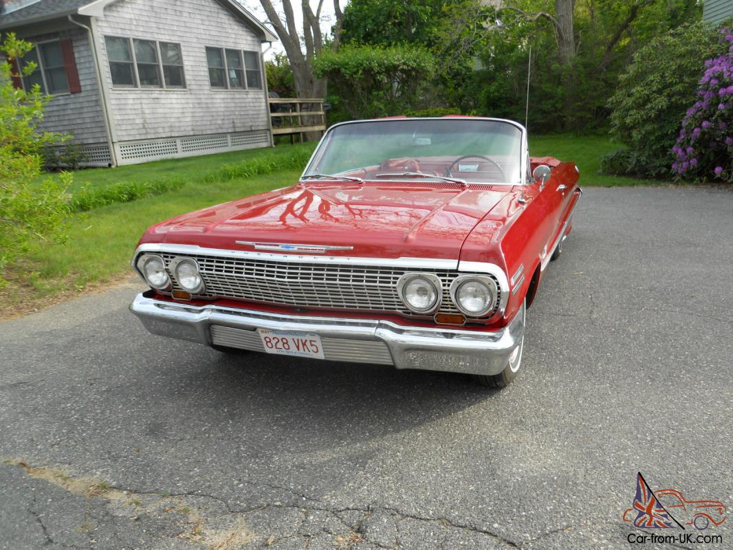 Classic 63 Chevy Impala Convertible Muscle Car With A 305