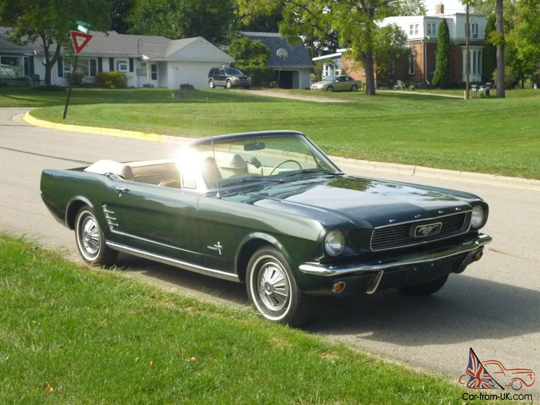 1966 ford mustang convertible dark green tan interior top. Black Bedroom Furniture Sets. Home Design Ideas