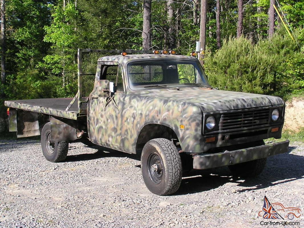 1974 international 4x4 pick up flat bed w plow low miles usaf no reserve. Black Bedroom Furniture Sets. Home Design Ideas