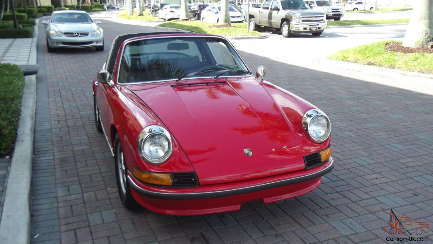 1972 porsche 911 targa 2 4 litre red with black leather very nice car. Black Bedroom Furniture Sets. Home Design Ideas