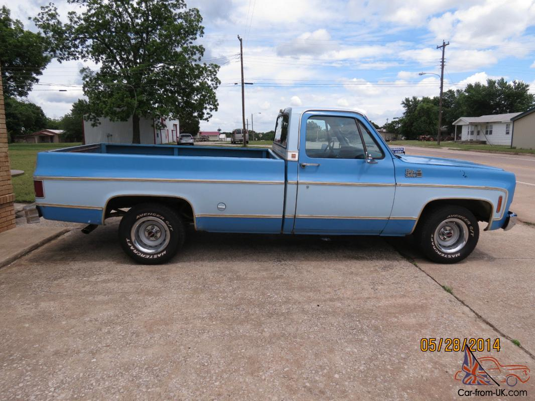 1977 gmc 1 2 ton two tone blue long bed pick up. Black Bedroom Furniture Sets. Home Design Ideas