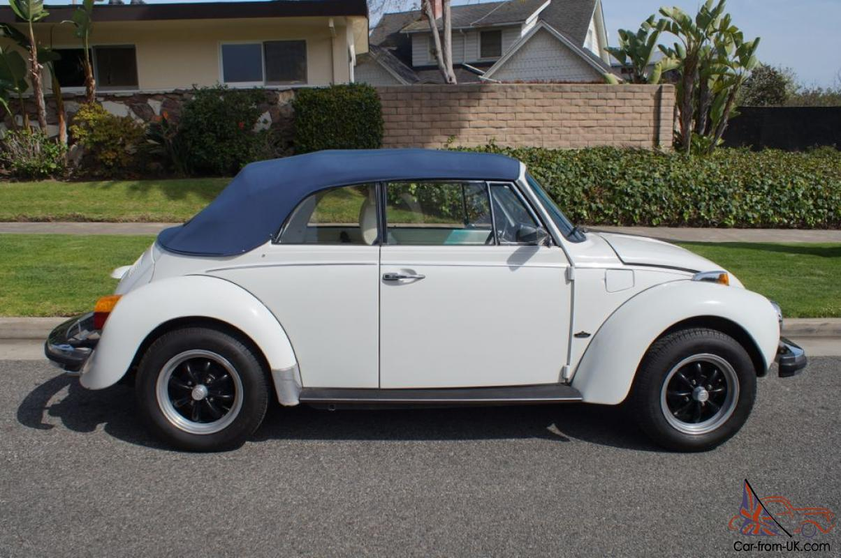 1978 Vw Beetle Convertible With 60k Original Miles White A Powder Blue Top