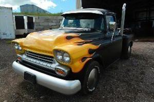 hot rod, old school look flamed and pinstriped 59 chevy pickup, 509 caddy motor