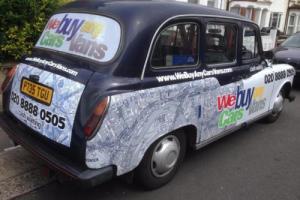 CARBODIES LTI TAXI FAIRWAY LONDON BLACK CAB 1997 P REG BLUE WITH UNION JACK FLAG