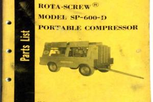 1964 ROTA-SCREW MODEL SP600D PORTABLE COMPRESSOR PARTS LIST GARDNER DENVER CO. Photo