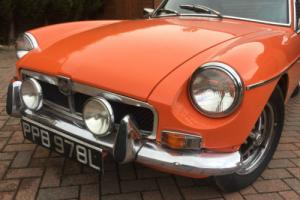 MGB GT CLASSIC 1973 BRIGHT ORANGE WITH COOL BLUE INTERIOR LOOKS VERY FUNKY Photo