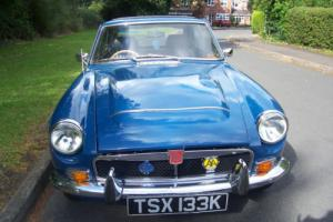 MG B GT BLUE with over ride switch 1972