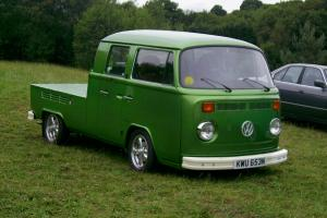 rare restored 1975 vw crewcab pickup lowered with empi alloys