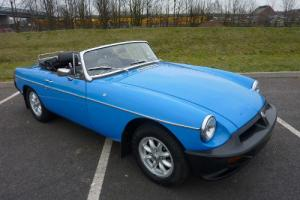 MGB ROADSTER 1978 PX PAGENT BLUE WITH BLACK HIDE INTERIOR PIPED IN RED