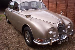 1966 Jaguar S type, 3.8 manual overdrive in Golden Sand with tan hide.