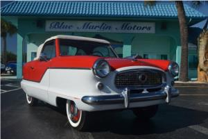 Metropolitan Convertible 3 speed manual restored red and white, pinstripes, vert