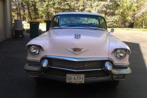 1956 cadillac deville 4 door v-8 pink with white top black cloth interior
