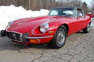 1973 Jaguar XKE Series 3  V-12 Roadster Red Black Wires Manual Really Nice
