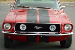 1967 68 Mustang Factory RED on RED, Restodmod, Black Carbon Fiber Shelby Stripes Photo