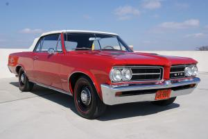 1964 PONTIAC GTO - CONVERTIBLE TRI POWER - 4 SPD - RED W/WHITE TOP - STUNNING!!!