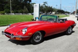 1969 Signal Red Jaguar E-Type XKE Series II Convertible 4.2L 6 Cyl 4 Spd Manual