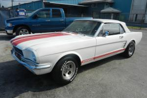 """NICE 1966 FORD MUSTANG CONVERTIBLE""""C"""" CODE, SHELBY GT350 LOOK, 4 SPEED, LO RESRV"""