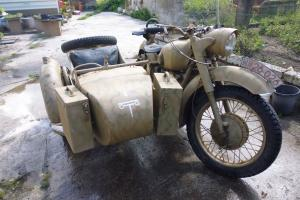 1975 DNEPR 650CC MOTORBIKE AND SIDE CAR DONE AS GERMAN BMW WITH MG MOUNT AND PAN