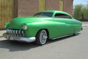 1949 mercury chopped and channeled and bagged Slammed Lead Sled Flame throwers