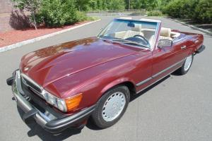1988 Mercedes Benz 560SL Low Mileage Cabernet Red Creme Beige MUST SEE !!!