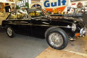 1968 MGC GT -- beautiful black paint exterior and black leather interior