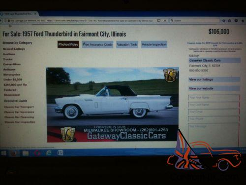 1957 THUNDERBIRD ROADSTER CONVERTIBLE ALL NUMBERS MATCH 90% COMPLETE  PROJECT CAR