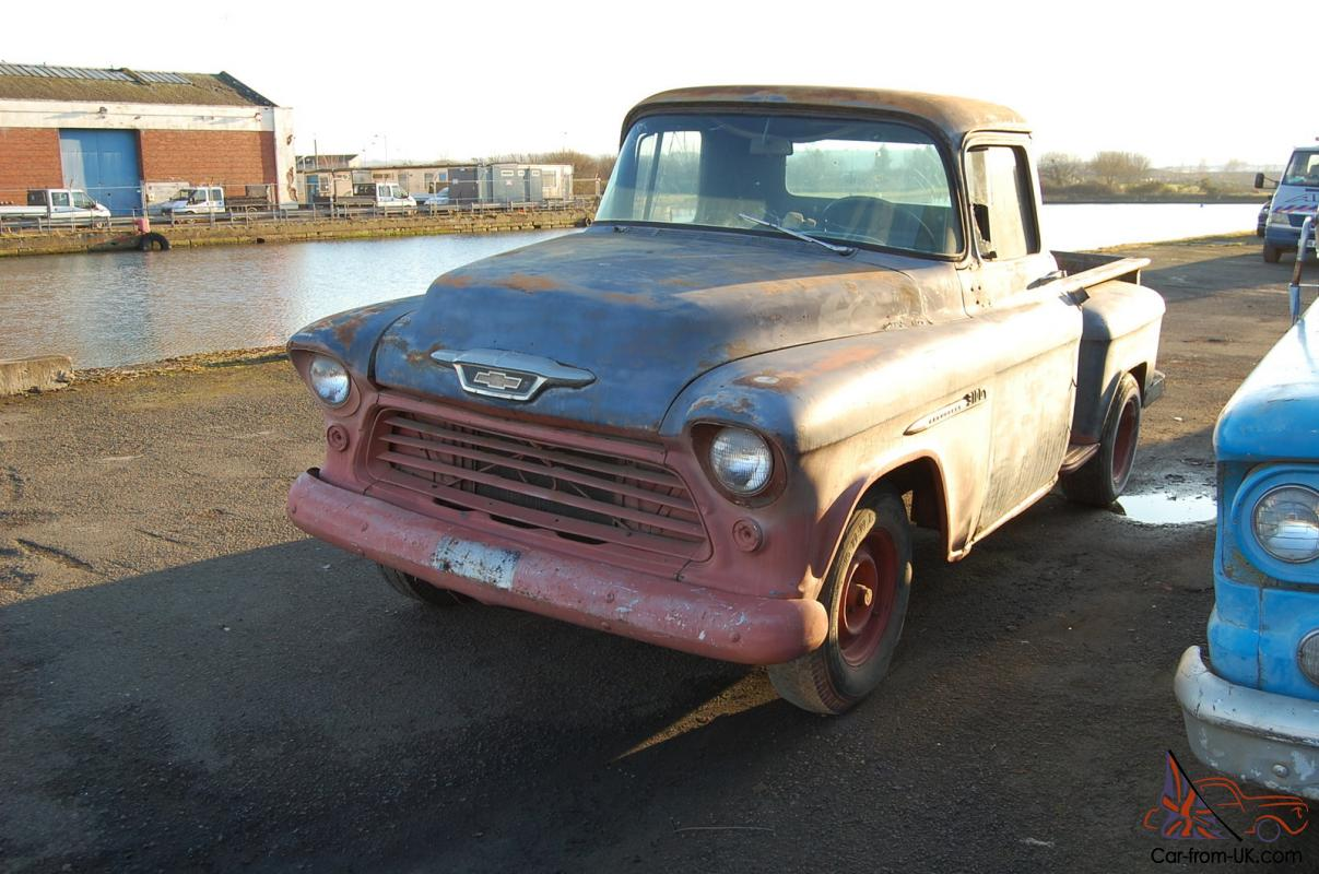 Truck 1955 chevy apache truck for sale : 1955 Chevrolet Stepside project pickup, California import, UK ...