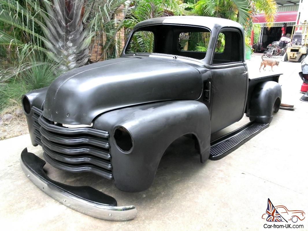 1947 Chevrolet Chev Chevy Pickup Hotrod Ratrod Custom Sled Black Low 1964 Truck Grille Unique