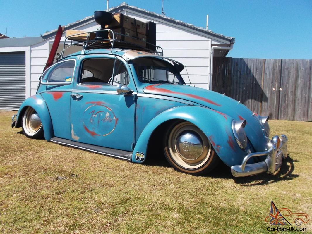 Bagged Patina 1963 Vw Beetle Show Off Car Slammed Cool Patina