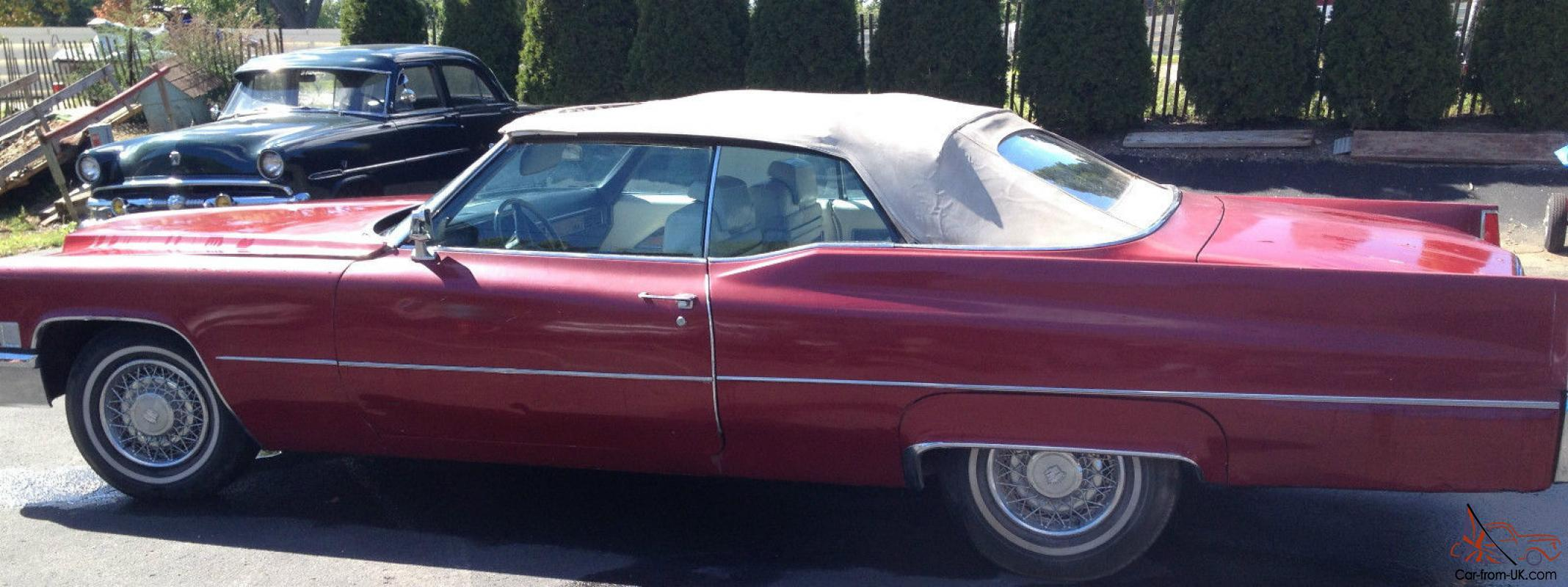 1969 Cadillac Deville Maroon W White Interior 69k Must See 1978 Convertable
