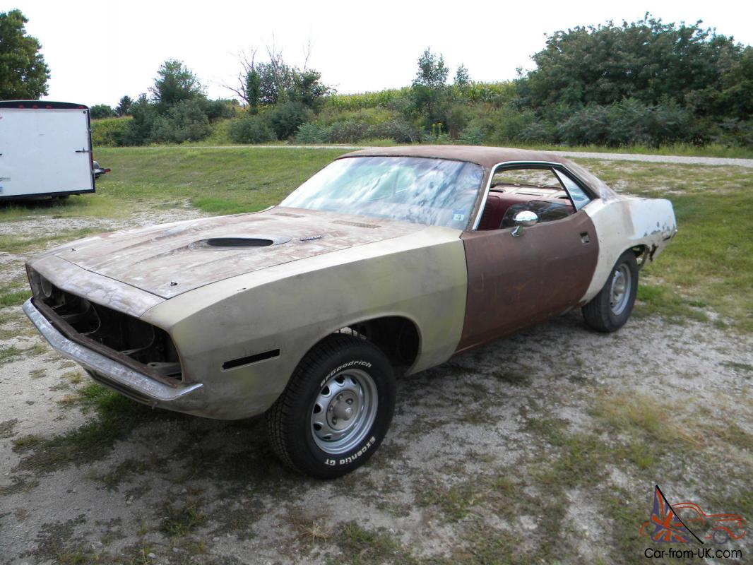 70 Plymouth Cuda 340, BS23H, #s Matching Project Car, White/Red, A/C,  Automatic