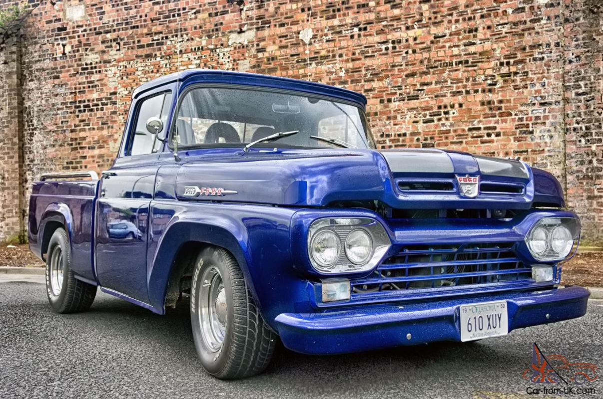 1960 Ford F100 Pickup Hotrod Blue Silver
