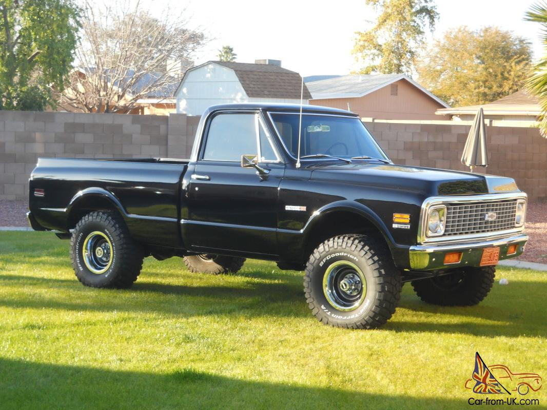 All Chevy 71 chevrolet : DEAD GORGEOUS BLACK 1971 CHEVY SHORT WIDE 4X4 LOADED