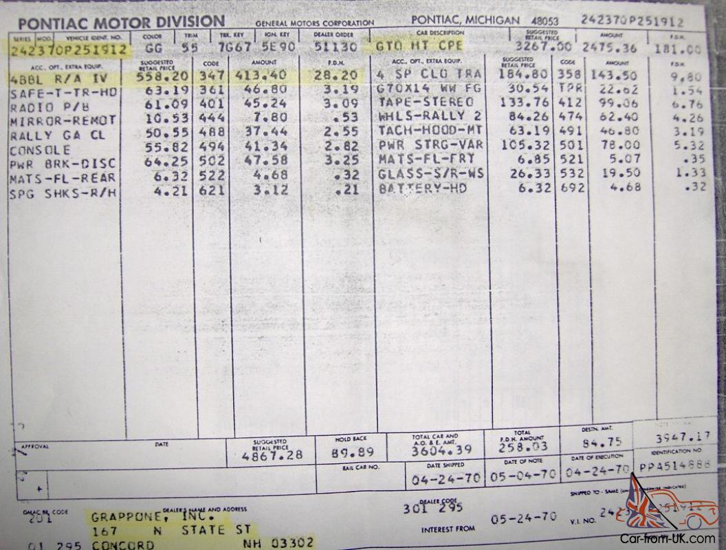 1970 Ram Air IV GTO 4 Speed