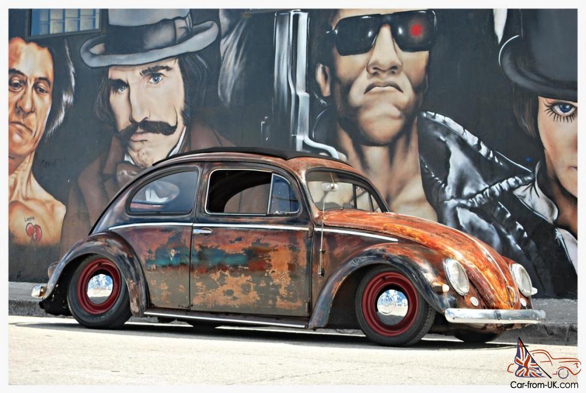 Oval Window Factory Ragtop 1955 Vw Beetle Custom Rat Rod Volkswagen Bug Hot Rod
