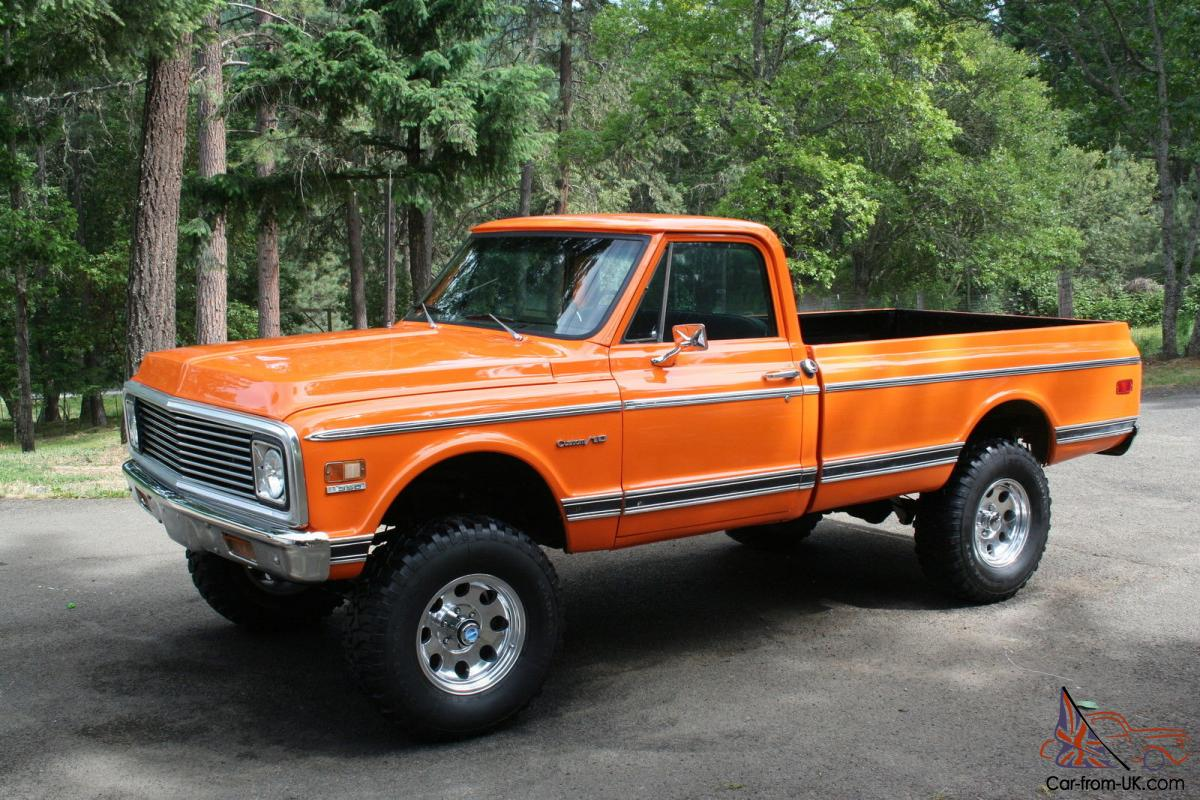 All Chevy 1969 chevy c10 for sale : 1972 chevy pickup, 4x4, custom 10, Orange . 350 motor C10