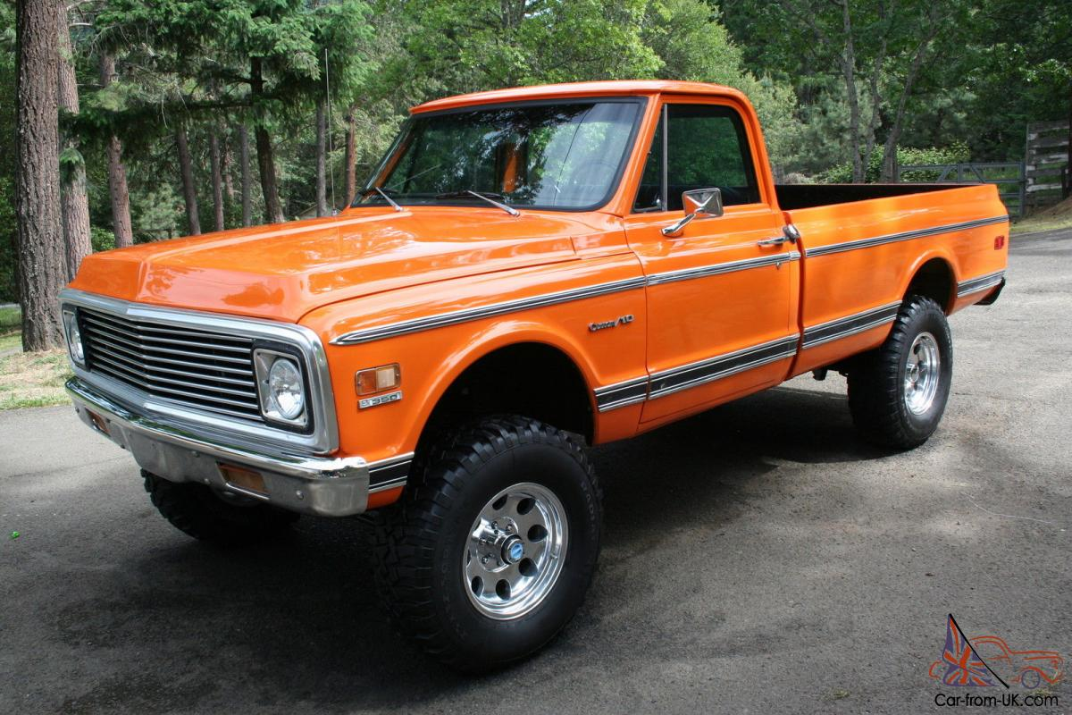 All Chevy 95 chevy 3500 diesel : 1972 chevy pickup, 4x4, custom 10, Orange . 350 motor C10