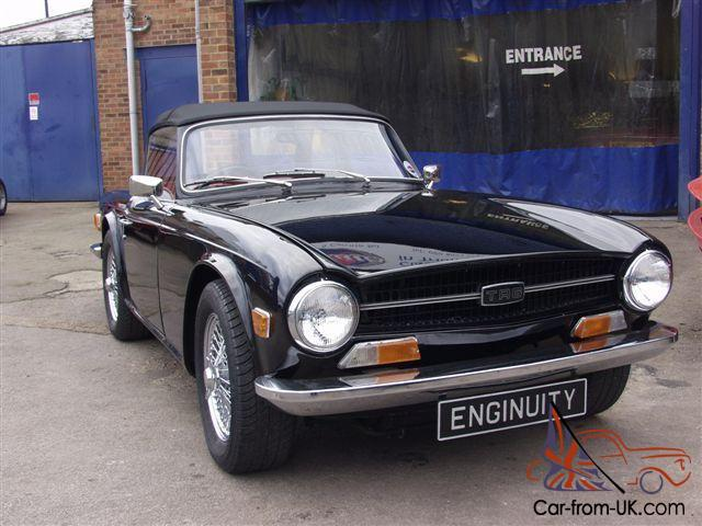 TRIUMPH TR6 PI 150 overdrive beautiful in Black with chrome wires