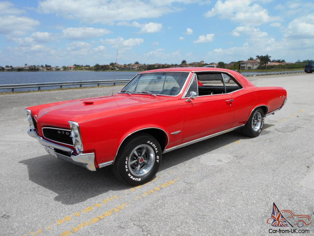 1966 Gto 400 4spd Red Black Int Phs Docs