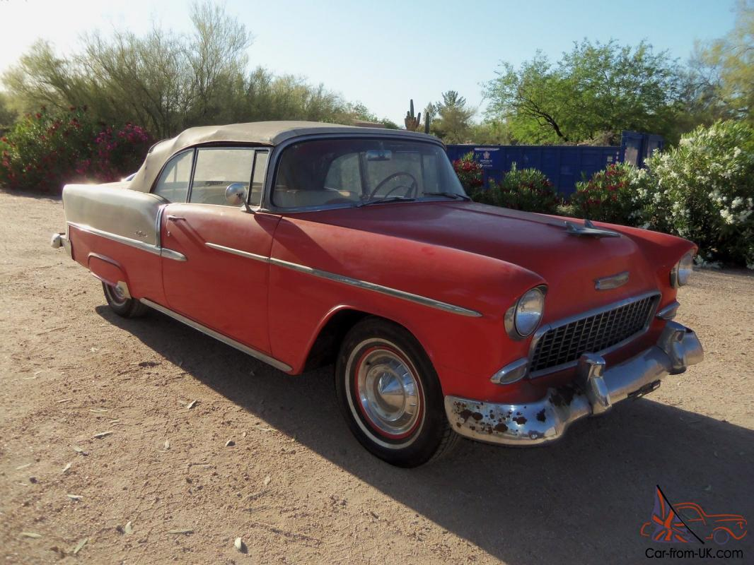 1955 Bel Air Convertible - Unique Continental Kit With Skirts- Old Barn  Find -